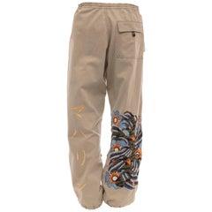 Maharishi Men's Khaki Embroidered Cotton Pants, Circa 2004