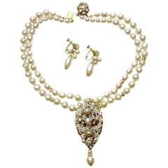Miriam Haskell Vintage Faux Pearl Drop Necklace And Earrings Set