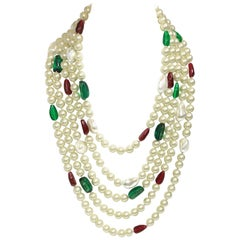 Signed Kenneth Jay Lane Multi-Strand Faux Pearl, Green & Red Stone Necklace