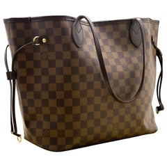 Louis Vuitton Damier Ebene Neverfull MM Shoulder Bag Canvas Box
