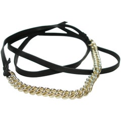 Rare Bracelet Hermès Longe Black Calf leather and Silver / Excellente Condition