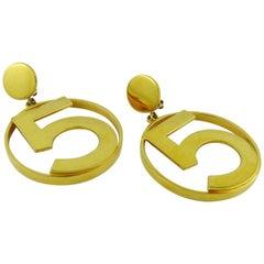 Chanel Vintage Iconic No 5 Oversized Hoop Earrings