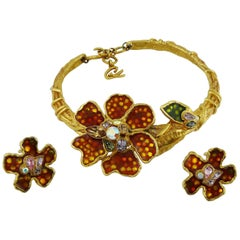 Christian Lacroix Vintage Enamel Flower Collar Necklace and Earrings Set