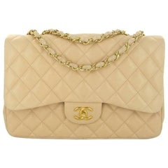 CHANEL Jumbo Flap Bag in Beige Quilted Lamb Leather