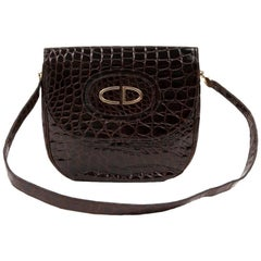 Vintage CHRISTIAN DIOR  Bag in Brown Crocodile Leather