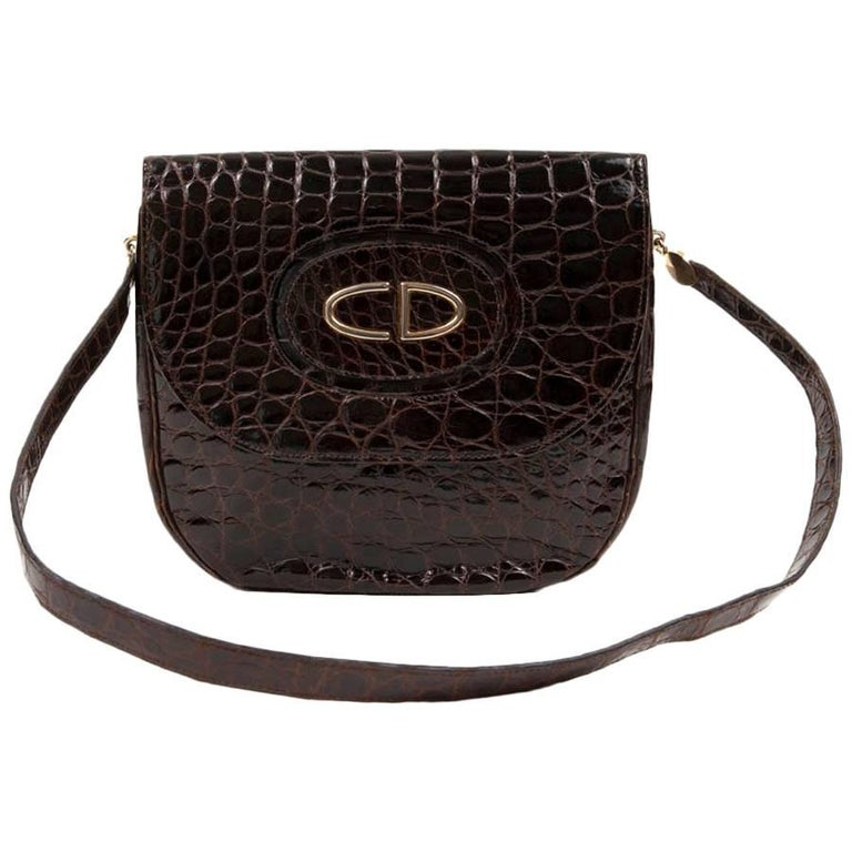 Vintage CHRISTIAN DIOR Bag in Brown Crocodile Leather For Sale at 1stdibs 56488870966af