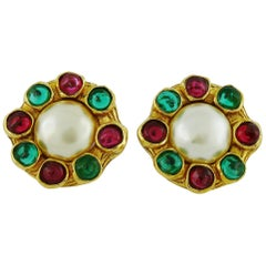 Chanel Vintage Gripoix Multicolor Glass Cabochons and Faux Pearl Earrings