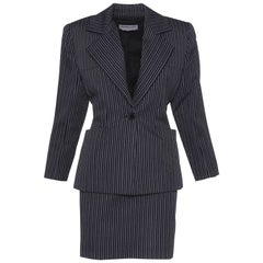 1980s YVES SAiNT LAURENT Rive Gauche Pinstriped Wool Suit Skirt