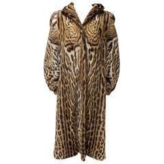 Long Ocelot Fur Coat . Size 40