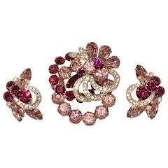 Vintage Eisenberg Brooch & Earrings Set Of 3-Demi Parure