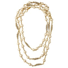 Long Chanel Faux Pearl and Glass Necklace