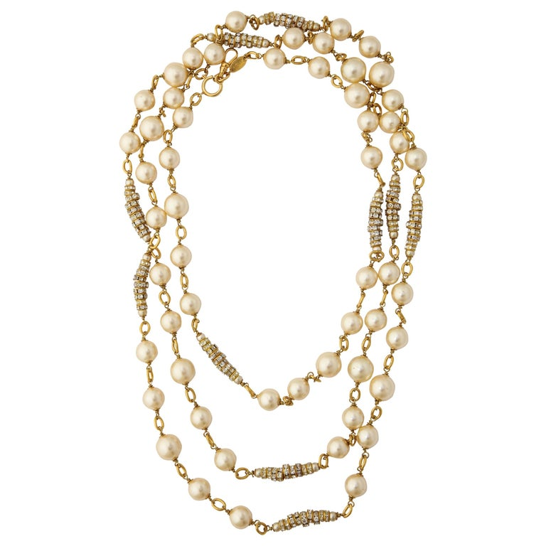 Long Chanel Faux Pearl and Glass Necklace For Sale