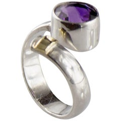 Crossover Amethyst and Sterling Silver Ring with 14K gold accent