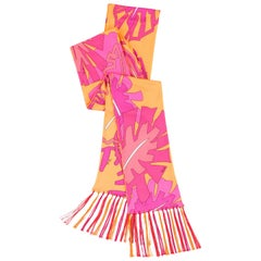 EMILIO PUCCI Orange & Pink Signature Leaf Print Silk Jersey Oblong Fringe Scarf