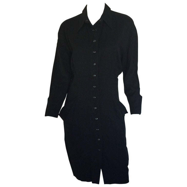 Black button down 1908s Thierry Mugler Dress  For Sale