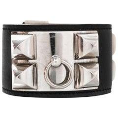Hermes Black Leather CDC Cuff Sz S