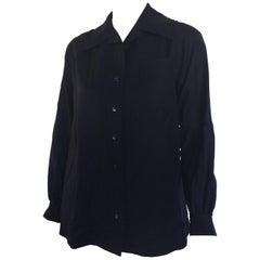 Yves Saint Laurent 1970s navy wool blend blouse