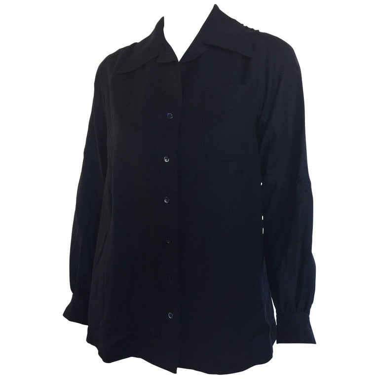 Yves Saint Laurent 1970s navy wool blend blouse
