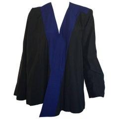 Yves Saint Laurent Blue & Black Silk Open Blpuse