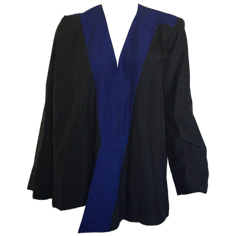 Yves Saint Laurent Blue & Black Silk Open Blpuse