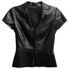 Gucci Tom Ford Black Leather Short Sleeve Top Sz IT 38