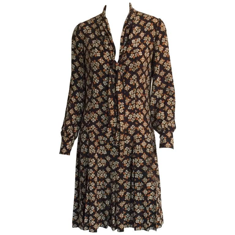Ungaro 1970s printed silk pleated dress
