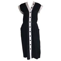 Yves Saint Laurent black and white linen dress