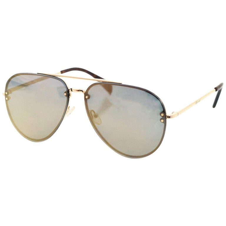 a13ed03285ab Celine Gold Mirrored Aviator Sunglasses For Sale at 1stdibs