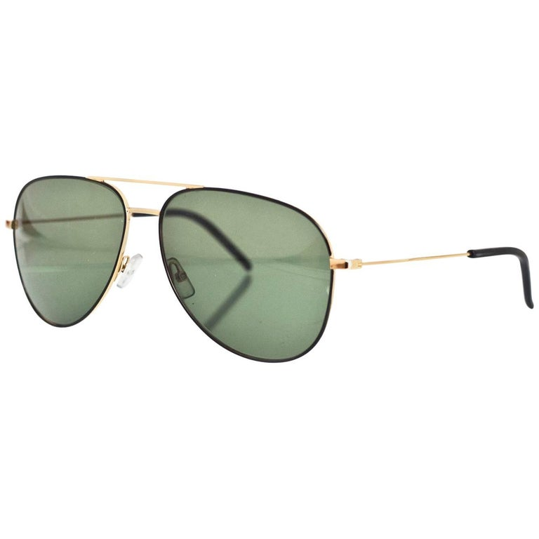 Saint Laurent Black & Gold Classic 11 Aviator Sunglasses with Case rt. $405 For Sale