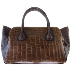 """""""It"""" Bag in Tobacco Salt Water Crocodile and Rubberized Python by Glen Arthur"""