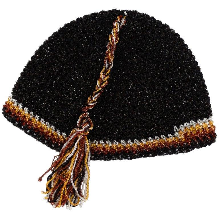 1970's Saks Fifth Avenue Knit Tassel Skullcap