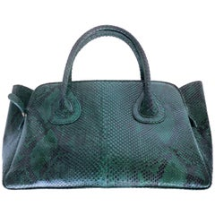 """Large """"It"""" Bag in Emerald Green Variegated Python by Glen Arthur"""