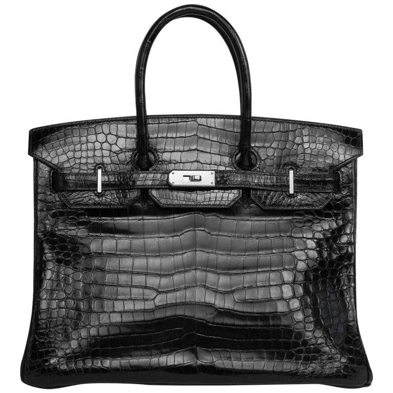 2008 Hermès Black Crocodile Birkin Bag   For Sale
