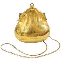 1960s Judith Leiber Chatelaine Brushed Gold Evening Bag