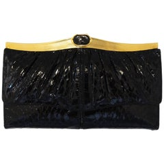 1980s Judith Leiber Black Snakeskin Wallet