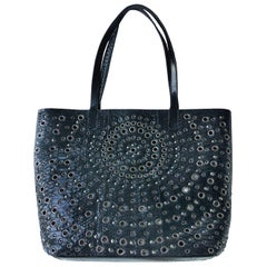 Black Rock Python Perforated and Studded Tote by Glen Arthur Designs for GabBag