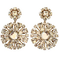 Yves Saint Laurent Crystal and Gold Tone Drop Chandelier Clip Earrings, 1980