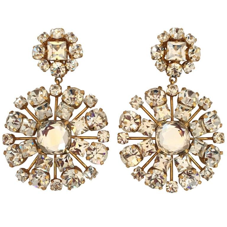 1980s Yves Saint Laurent Large Crystal & Gold Tone Drop Chandelier Clip Earrings 1