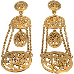 1980s Chanel Gold Tone Floral Filigree Chandelier Clip Earring