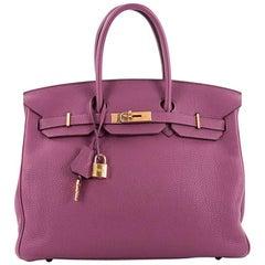 Hermes Tosca Togo Birkin Handbag 35 With Gold Hardware