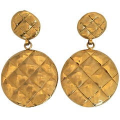 1980s Chanel Gold Tone Quilted Drop Clip Earrings