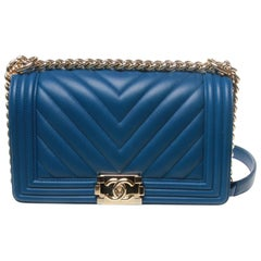 Chanel boy cobalt blue with silver hardware