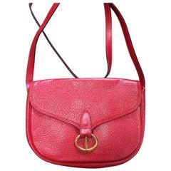 MINT. Vintage Christian Dior red genuine grained leather shoulder bag with logo
