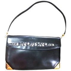 Vintage Christian Dior black leather large clutch, shoulder bag with trotter.