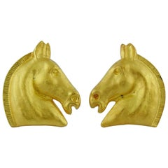 Hermes Vintage Matte Gold Toned Equestrian Clip-On Earrings