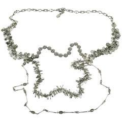 Christian Lacroix Vintage Multi Strand Silver Toned Sautoir Necklace