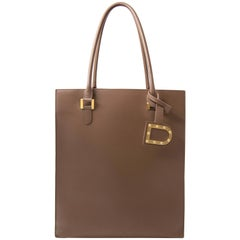 Delvaux Taupe Leather Paper Bag