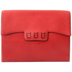 Delvaux Coral Red Briefcase Clutch