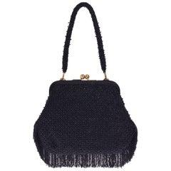 1950s PIROVANO Italian Couture Black Beadeds Purse Handbag