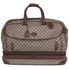 1980s GUCCI GG Monogram Brown Canvas Luggage Bag